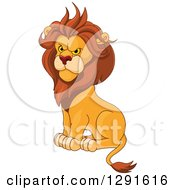 Clipart Of A Sitting Angry Male Lion Royalty Free Vector Illustration by Pushkin