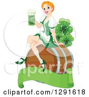 Clipart Of A Happy Strawberry Blond Beer Maiden Woman Sitting On A Keg Barrel And Holding A Cup Of Green St Patricks Day Alcohol Over A Blank Banner With Magical Shamrock Clovers Royalty Free Vector Illustration