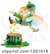 Clipart Of A Happy St Patricks Day Leprechaun Leaping Over A Pot Of Gold At The End Of A Rainbow Royalty Free Vector Illustration by Pushkin