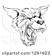 Black And White Vicious Snarling Wolf Mascot Head