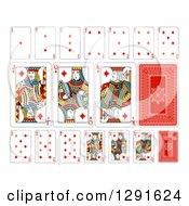 Clipart Of Layout Of A Diamonds Playing Card Suit Royalty Free Vector Illustration