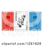 Clipart Of Red And Blue And Joker Playing Cards Royalty Free Vector Illustration by AtStockIllustration