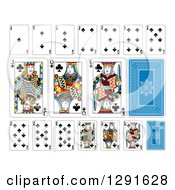 Clipart Of Layout Of A Clubs Playing Card Suit Royalty Free Vector Illustration by AtStockIllustration