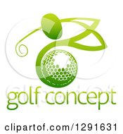 Clipart Of An Abstract Gradient Green Man Golfing Over A Ball With Sample Text Royalty Free Vector Illustration by AtStockIllustration