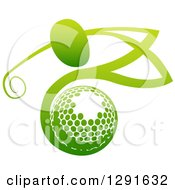 Clipart Of An Abstract Gradient Green Man Golfing Over A Ball Royalty Free Vector Illustration