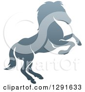 Clipart Of A Gradient Gray Rearing Horse Royalty Free Vector Illustration