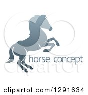 Clipart Of A Gradient Gray Rearing Horse And Sample Text Royalty Free Vector Illustration by AtStockIllustration