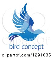 Clipart Of A Gradient Flying Blue Bird Over Sample Text Royalty Free Vector Illustration by AtStockIllustration
