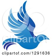 Clipart Of A Gradient Blue Bird Flying To The Right Royalty Free Vector Illustration by AtStockIllustration