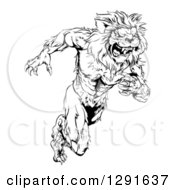 Black And White Vicious Muscular Sprinting Lion Man Mascot