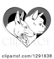 Clipart Of Black And White Profiled Cat And Dog Faces Over A Heart Royalty Free Vector Illustration