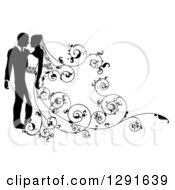 Clipart Of A Black And White Silhouetted Wedding Couple With A Swirl Floral Train 2 Royalty Free Vector Illustration