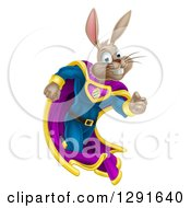 Clipart Of A Brown Easter Super Hero Bunny Rabbit Running Royalty Free Vector Illustration