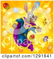 Clipart Of A Brown Easter Super Hero Bunny Rabbit Running Through A Burst Of Eggs And Stars Royalty Free Vector Illustration