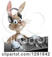 Happy Brown Bunny Rabbit Dj Wearing Headphones Over A Turntable