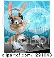 Clipart Of A Happy Brown Bunny Rabbit Dj Wearing Headphones Over A Turntable Against A Dance Floor Royalty Free Vector Illustration