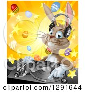 Clipart Of A Happy Brown Easter Bunny Rabbit Dj Wearing Headphones Over A Turntable Against A Burst Of Objects Royalty Free Vector Illustration