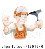 Clipart Of A Waving Brunette Caucasian Window Cleaner Man In Orange Overalls Holding A Squeegee Royalty Free Vector Illustration