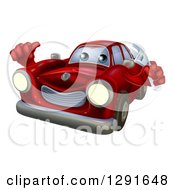Clipart Of A Happy Cartoon Red Car Character Mechanic Holding A Wrench And Thumb Up Royalty Free Vector Illustration