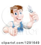 Clipart Of A Happy Brunette Middle Aged Caucasian Mechanic Man Holding A Wrench And Thumb Up Royalty Free Vector Illustration