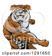 Clipart Of A Vicious Muscular Bulldog Man Punching Royalty Free Vector Illustration by AtStockIllustration