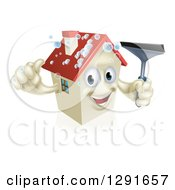 Clipart Of A Happy House Character With Bubbles Holding A Thumb Up And A Window Washing Squeegee Royalty Free Vector Illustration