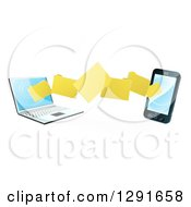 Clipart Of A 3d Folder File Transfer From A Laptop To A Smart Cell Phone Royalty Free Vector Illustration by AtStockIllustration