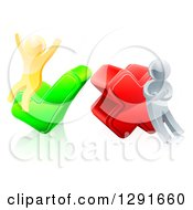 Clipart Of 3d Right And Wrong Silver And Gold Men Cheering And Pouting With X And Check Marks Royalty Free Vector Illustration