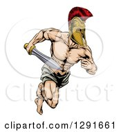 Clipart Of A Muscular Gladiator Man In A Helmet Sprinting With A Sword Royalty Free Vector Illustration