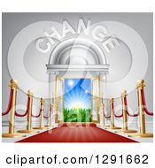 Clipart Of A Red Carpet And Posts Leading To A CHANGE Doorway Royalty Free Vector Illustration