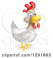 Clipart Of A Happy White And Brown Chicken Or Rooster Royalty Free Vector Illustration by AtStockIllustration