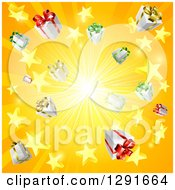 Clipart Of A Yellow And Orange Sun Burst Of 3d Gifts And Stars Royalty Free Vector Illustration