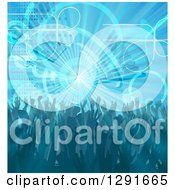 Clipart Of A Blue Music Background Of People Dancing Over A Burst With Equalizer Bars Royalty Free Vector Illustration