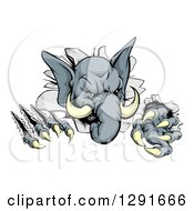 Clipart Of A Vicious Elephant Monster Clawing Through A Wall Royalty Free Vector Illustration