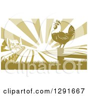 Crowing Rooster On A Fence Post Against A Sunrise Over A Farm House