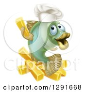 Clipart Of A Happy Green Chef Cod Fish Holding Up A French Fry Over Chips Royalty Free Vector Illustration by AtStockIllustration