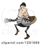 Clipart Of A Sketched Cartoon Caucasian Male Burglar Shining A Flashlight Royalty Free Vector Illustration