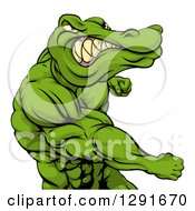 Clipart Of A Tough Muscular Crocodile Or Alligator Man Punching Royalty Free Vector Illustration