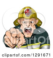 Clipart Of A Tough Chief Fireman Pointing Outwards And Shouting Royalty Free Vector Illustration by AtStockIllustration