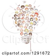 Clipart Of Doodled Diverse Children Forming A Light Bulb Royalty Free Vector Illustration