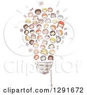 Doodled Diverse Children Forming A Light Bulb