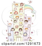 Clipart Of Sketched School Children Inside A Building Royalty Free Vector Illustration