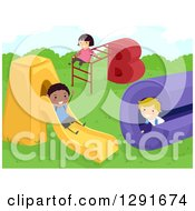 Clipart Of Happy Children Playing On An ABC Playground Royalty Free Vector Illustration