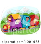 Clipart Of A Group Of Happy School Children Riding A Letter Alphabet Abc Train Royalty Free Vector Illustration