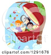 Clipart Of Happy School Children Reading And Studying In A Giant Apple Royalty Free Vector Illustration