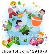 Clipart Of Happy School Children Doing Educational Activities Around A Globe Royalty Free Vector Illustration