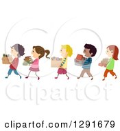 Clipart Of A Line Of Happy Children Carrying Boxes Of Books Royalty Free Vector Illustration