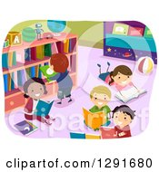 Clipart Of Happy Children Reading Books In A Library Royalty Free Vector Illustration