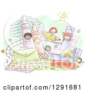 Clipart Of A Sketched Theme Park With School Children Royalty Free Vector Illustration