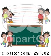 Clipart Of Happy Black School Children By A Giant Note Card And Chalk Board Royalty Free Vector Illustration